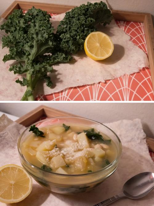 White bean Lemon and Kale Soup
